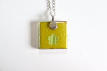 Load image into Gallery viewer, Fans in Sakura - Square Washi Paper Pendant Necklace
