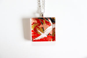 Red Cranes in Sky - Square Washi Paper Pendant Necklace