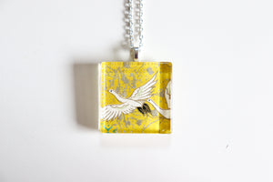 Yellow Cranes in the sky - Square Washi Paper Pendant Necklace