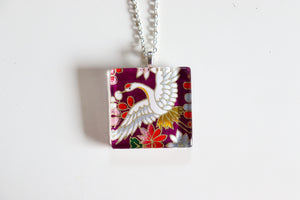 Purple Crane - Square Washi Paper Pendant Necklace