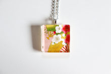 Load image into Gallery viewer, Plums and Fans Pink - Square Washi Paper Pendant Necklace