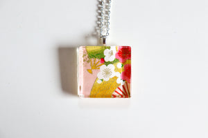 Plums and Fans Pink - Square Washi Paper Pendant Necklace