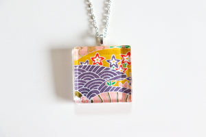 Starlit waters - Square Washi Paper Pendant Necklace