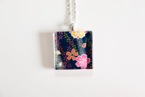 Dark Nights - Square Washi Paper Pendant Necklace