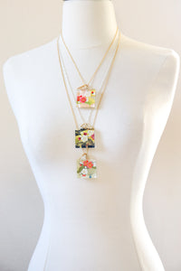 Plum Bouquets - Rounded Square Washi Paper Pendant Necklace