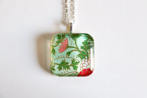 Wispy Flowers - Rounded Square Washi Paper Pendant Necklace