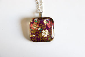 Purple Gardens- Rounded Square Washi Paper Pendant Necklace