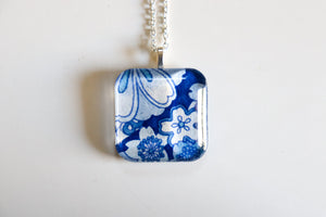 Blue and White - Rounded Square Washi Paper Pendant Necklace