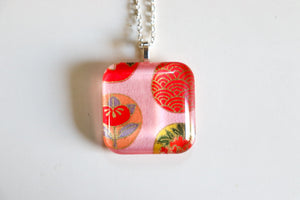 Bubbles - Rounded Square Washi Paper Pendant Necklace
