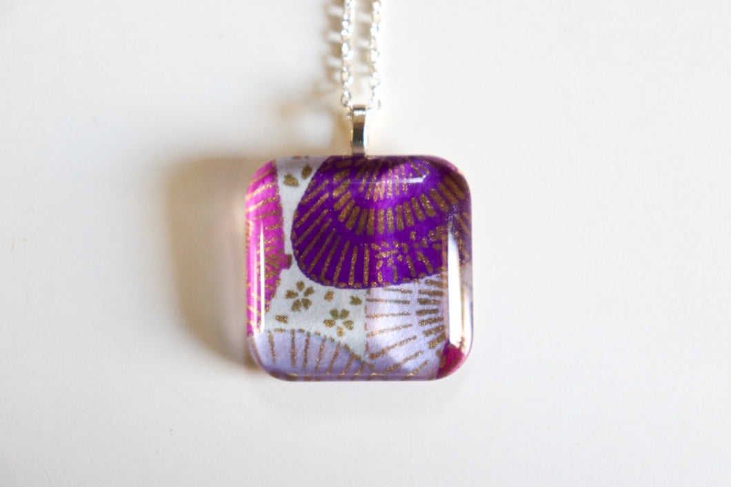 Parasol Party - Rounded Square Washi Paper Pendant Necklace