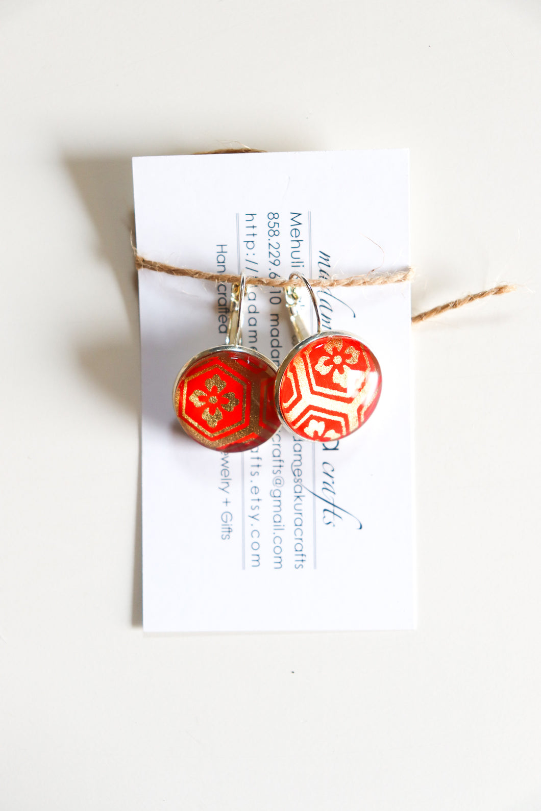 Red and Gold - Washi Paper Earrings