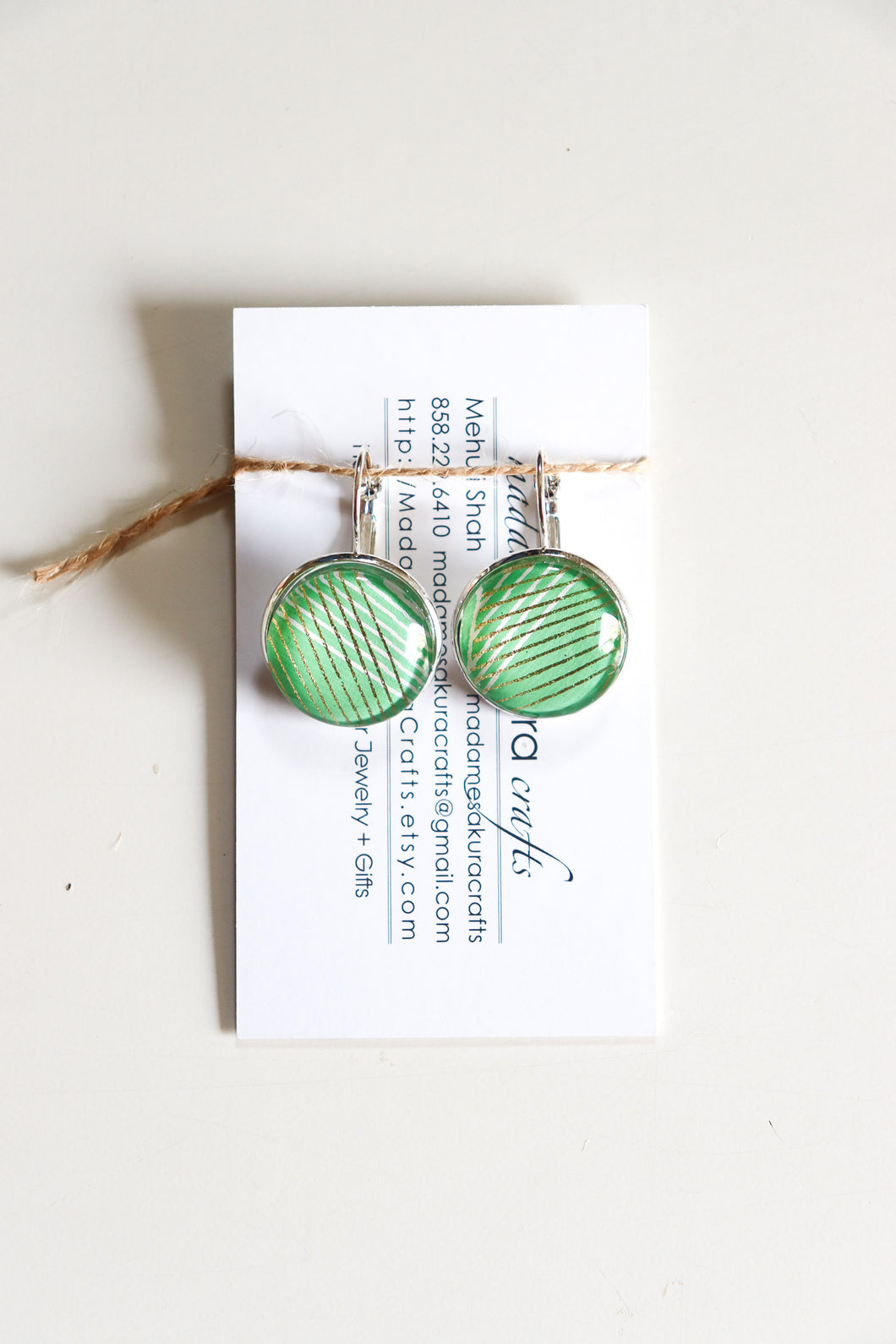 Green Stripes - Washi Paper Earrings