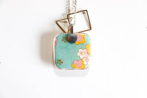 Flower Petals - Double Sided Washi Paper Pendant Necklace