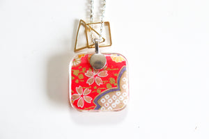 Yellow Blossoms on Pink - Double Sided Washi Paper Pendant Necklace