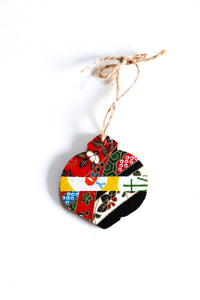 Red festivities - Mini Wood Washi paperOrnament