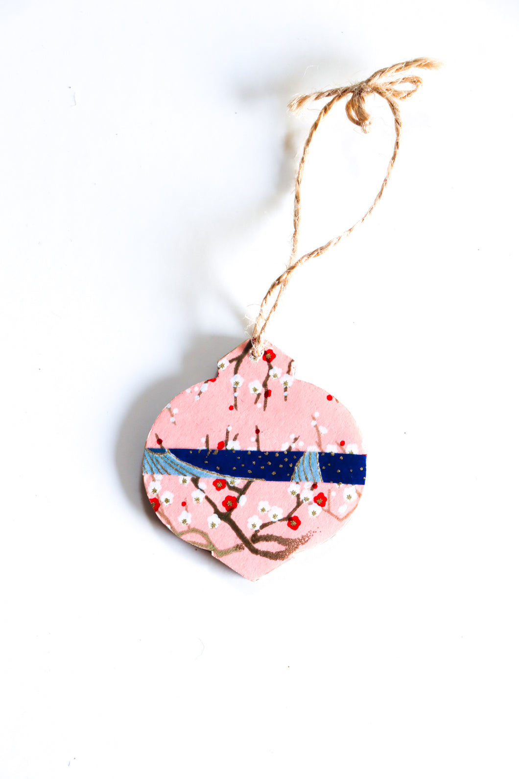 Cranes and Branches - Mini Wood Washi paperOrnament