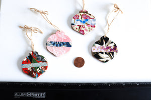 Pink & Snowy Blossoms - Mini Wood Washi paperOrnament