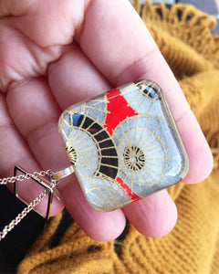 Blue Cranes - Rounded Square Washi Paper Pendant Necklace