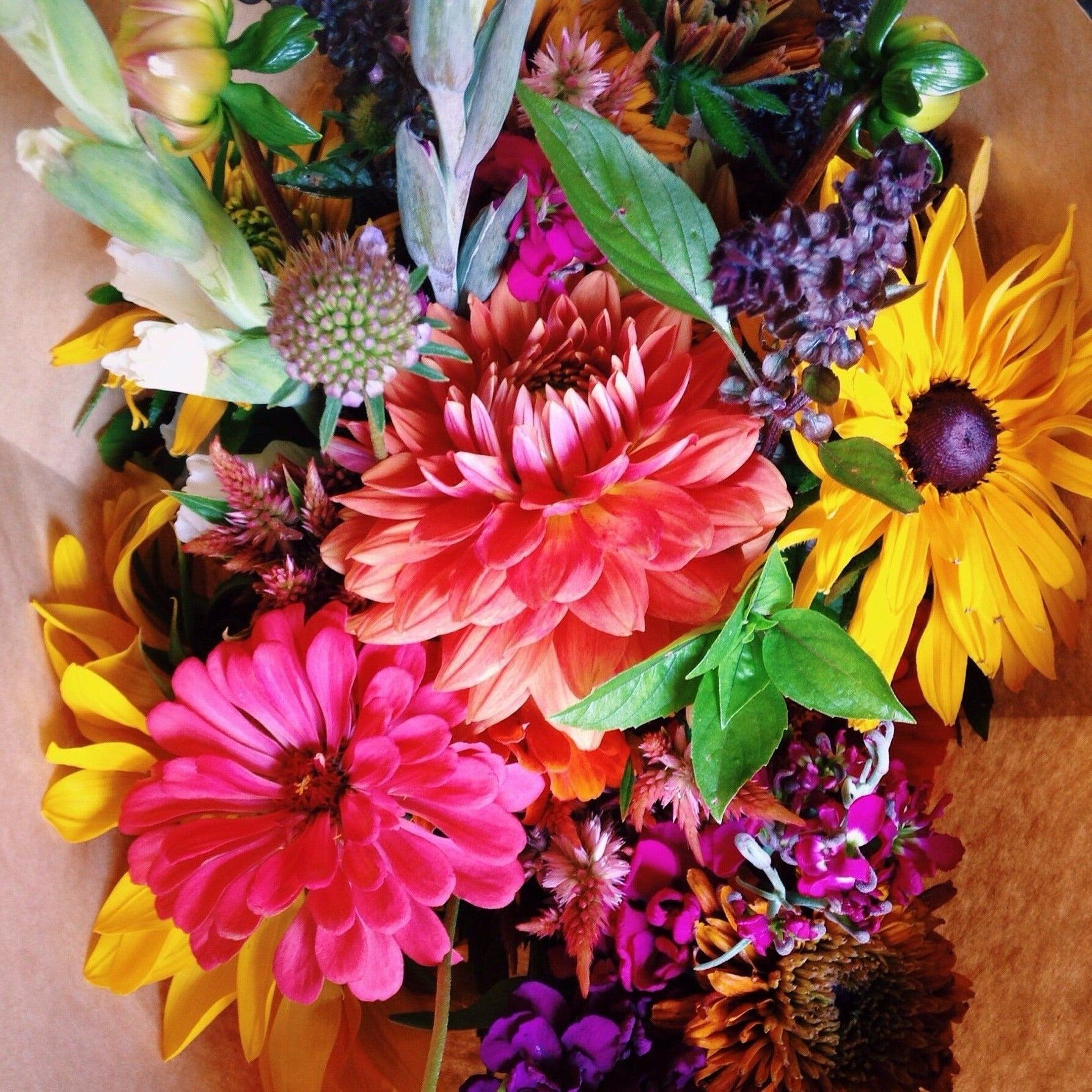 Colorful mixed bouquet including dahlias, zinnias and rudbeckia