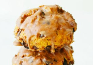 Trail mix scones - three stacked on top of each other.