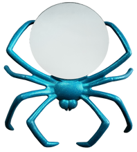 "Load image into Gallery viewer, ""Arachnophile"" Turquoise Glitter Spider Mirror"