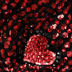 """Heartache"" Luxury Face Covering Red Sequins with Red and Black Swarovski Crystals"
