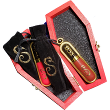 "Load image into Gallery viewer, ""Religion"" Gold Black Cross Wicked Coffin Box Filled With I AM SIN Sacred Heart Lipsticks"