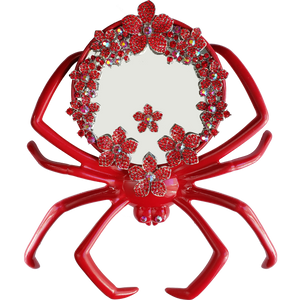 """Arachnophile Burlesque"" Red Spider Mirror with Crystals"