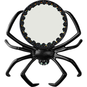 """Arachnophile Reflection"" Black Spider Mirror with Black Roses and Swarovski Crystals"