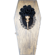 "Load image into Gallery viewer, ""Banshee"" 3D Black Roses Gold Bird Skull Cameo Coffin Box"