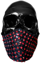 "Load image into Gallery viewer, ""Capture"" Luxury Face Covering Black Sequins and Red Swarovski Crystals"