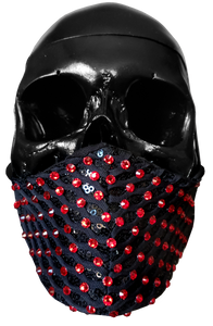 """Capture"" Luxury Face Covering Black Sequins and Red Swarovski Crystals"