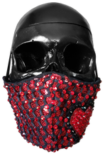 "Load image into Gallery viewer, ""Heartache"" Luxury Face Covering Red Sequins with Red and Black Swarovski Crystals"
