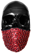 "Load image into Gallery viewer, ""Love Kills"" Luxury Face Covering Red Sequins Pearls and Swarovski Crystals"