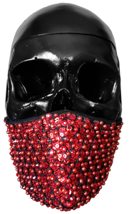 """Love Kills"" Luxury Face Covering Red Sequins Pearls and Swarovski Crystals"
