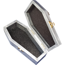 "Load image into Gallery viewer, ""Memento Mori"" Crystal Skull Gold Wings Coffin Box"