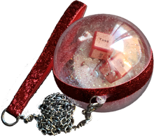 "Load image into Gallery viewer, ""Naughty Dice"" Swarovski Crystals and Glitter Jumbo Clear Ornament with Metal Leash"