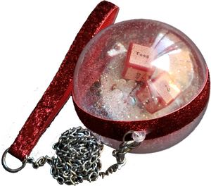 """Naughty Dice"" Swarovski Crystals and Glitter Jumbo Clear Ornament with Metal Leash"