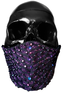 """Purple Haze"" Luxury Face Covering Pink Glitter and Purple AB Swarovski Crystals"