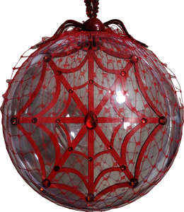 """All That Glitters Is Dangerous"" Two Piece Red Glitter Spider and Swarovski Web Jumbo Clear Ornament Set"