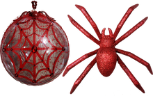 "Load image into Gallery viewer, ""All That Glitters Is Dangerous"" Two Piece Red Glitter Spider and Swarovski Web Jumbo Clear Ornament Set"