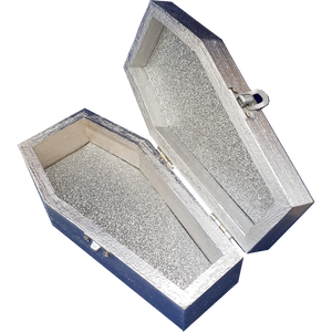 """Secret"" Crystal Key Silver Coffin Box"