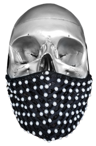"""Sweet Pearl"" Luxury Face Covering Black Sequins and White Pearls"