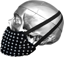 "Load image into Gallery viewer, ""Sweet Pearl"" Luxury Face Covering Black Sequins and White Pearls"