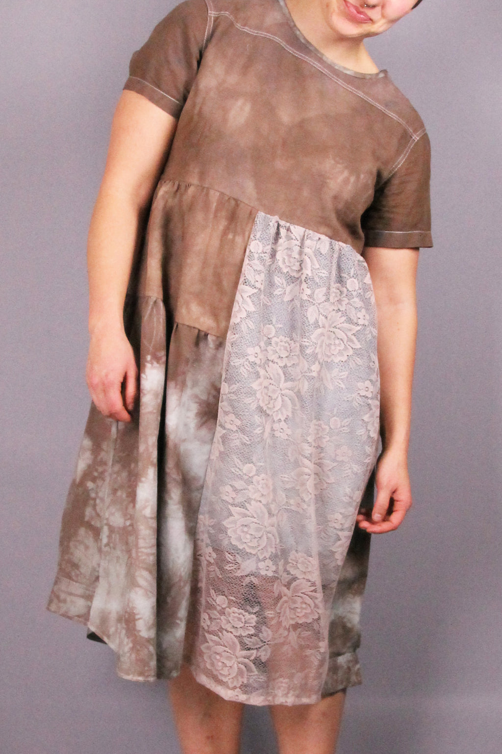 CLOUD-SHIRTDRESS brown with lace