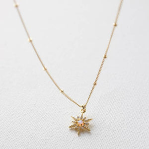 opal and cz star necklace