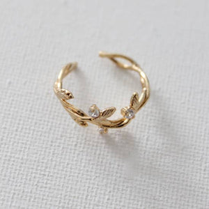 branch ring w/cz accents