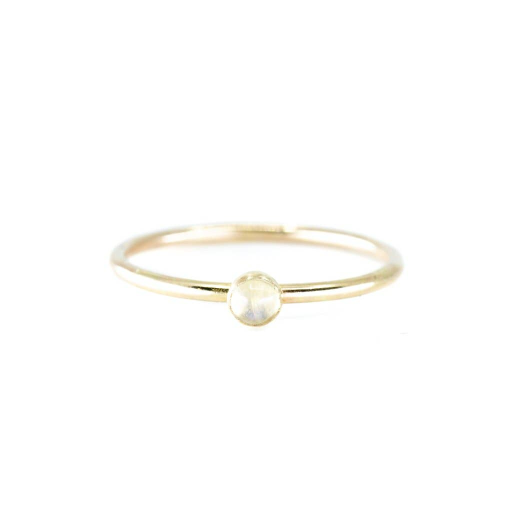 Mini Moonstone Stacking Ring in Gold | 5.5