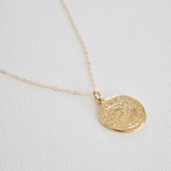 24kt Gold Plate Coin Pendant necklace