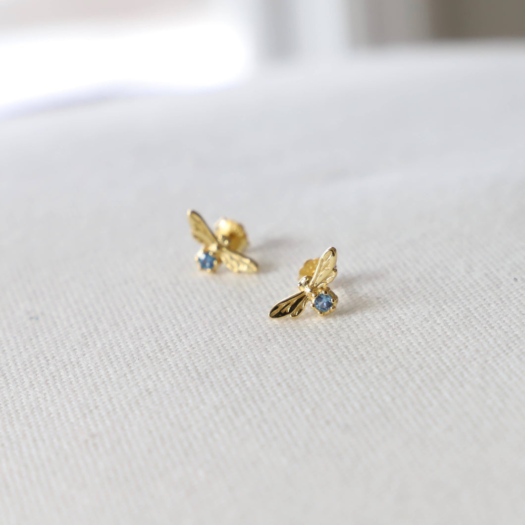 TINY BEE AND AQUA ZIRCONIA STUD